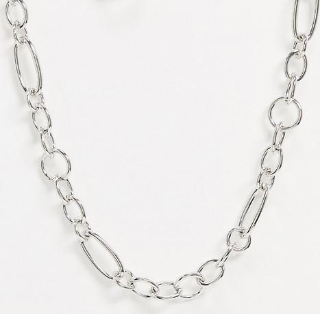 Reclaimed Vintage inspired – Naszyjnik w kolorze srebra z kółek o różnej wielkości i kształcie-Srebrny