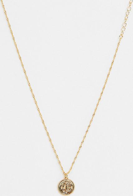 Reclaimed Vintage Inspired – Naszyjnik z 14-karatowego złota ze znakiem zodiaku koziorożca-Złoty
