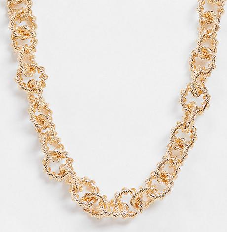 Reclaimed Vintage Inspired – Naszyjnik z grubym skręcanym łańcuszkiem w kolorze złota-Złoty