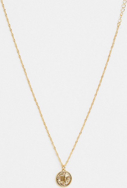 Reclaimed Vintage Inspired Premium – Naszyjnik powlekany 14-karatowym złotem ze znakiem zodiaku Panny-Złoty