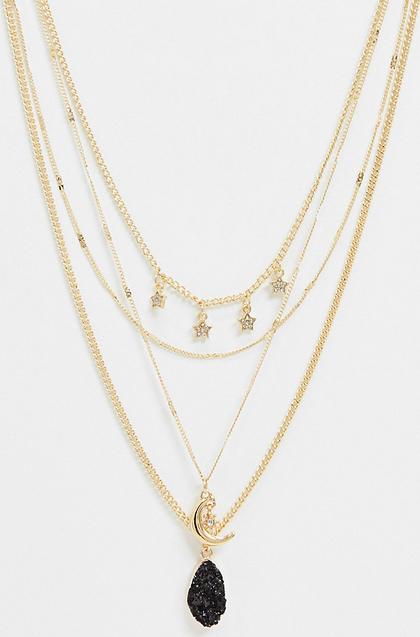 Reclaimed Vintage Inspired – Warstwowy łańcuszek z gwiazdkami i sztucznym kamieniem-Złoty