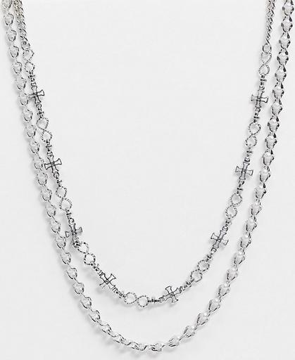 Reclaimed Vintage Inspired – Wielowarstwowy naszyjnik z różnych łańcuszków z perłami-Srebrny