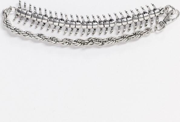 Reclaimed Vintage – Inspirowany stylem retro łańcuszek choker w kolorze polerowanego srebra z motywem w kształcie stonogi-Srebrny
