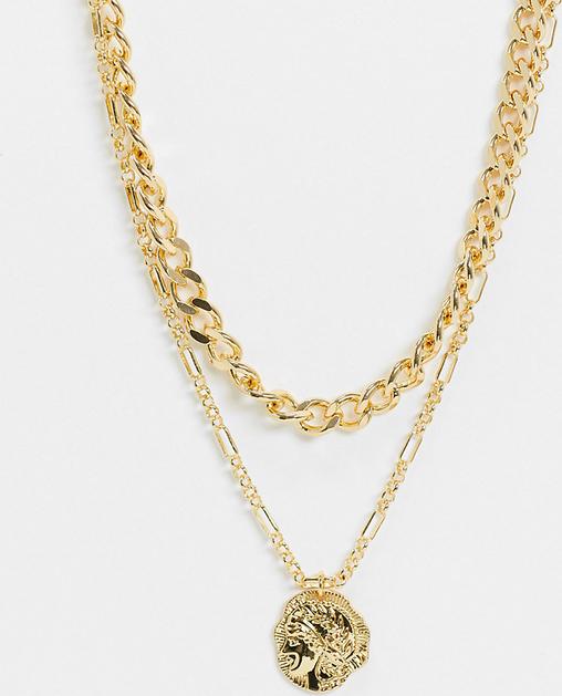 Reclaimed Vintage – Inspirowany stylem retro naszyjnik warstwowy pokryty 14-karatowym złotem z medalionem-Złoty
