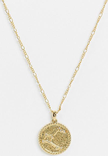 Reclaimed Vintage – Naszyjnik z wisiorkiem z Gwiazdozbiorem Andromedy powlekany 14-karatowym złotem, inspirowany stylem retro-Złoty