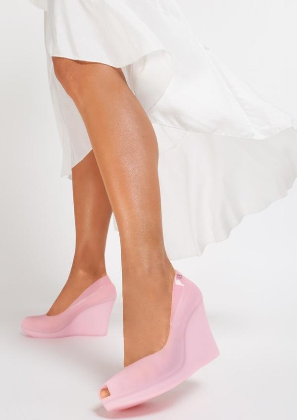 Renee różowe koturny noklast