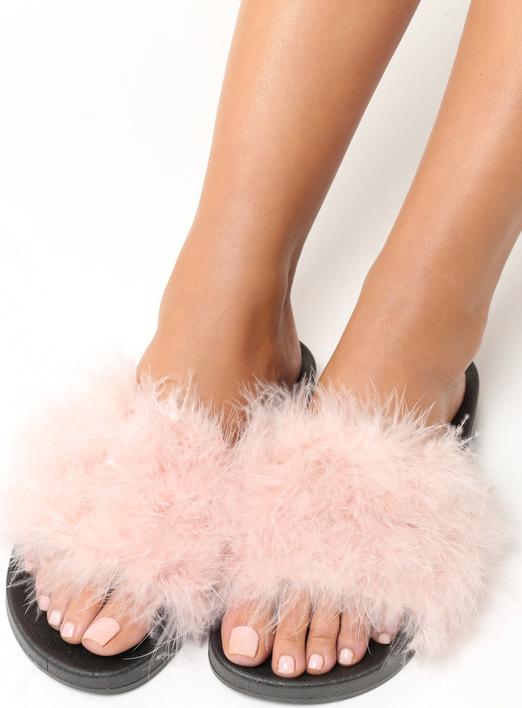 Renee różowo-czarne klapki plushie