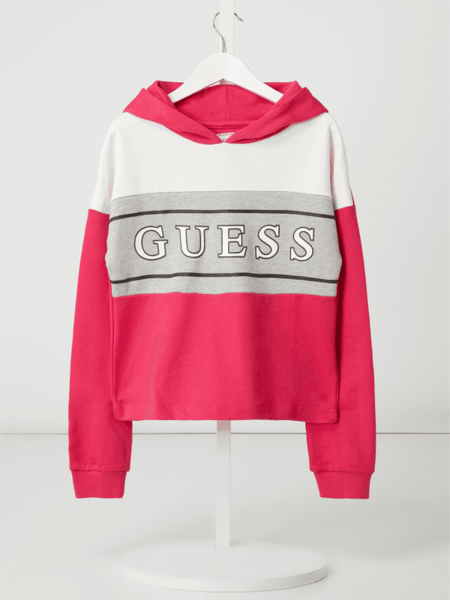 Różowa bluza dziecięca Guess z bawełny