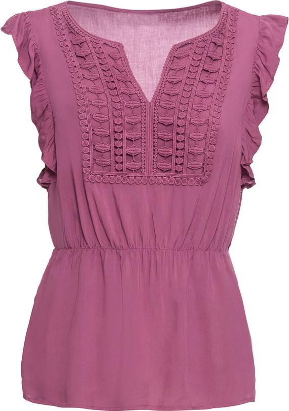 Różowa bluzka bonprix BODYFLIRT w stylu casual z dekoltem w kształcie litery v na ramiączkach
