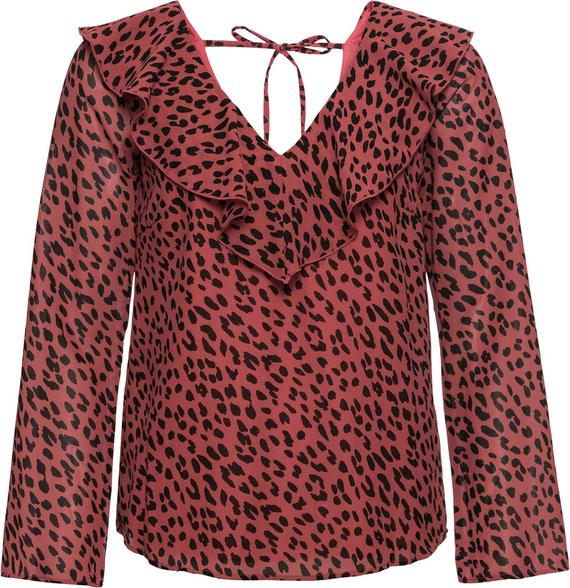 Różowa bluzka bonprix RAINBOW z długim rękawem w stylu casual z dekoltem w kształcie litery v