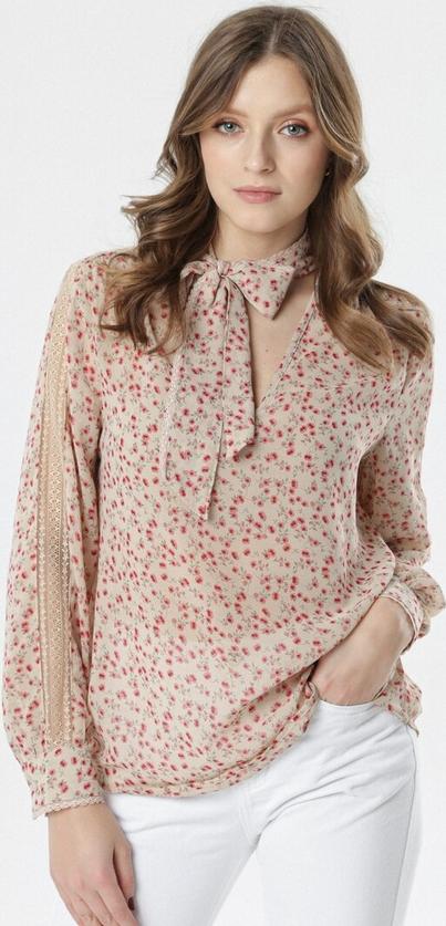 Różowa bluzka born2be z długim rękawem w stylu casual
