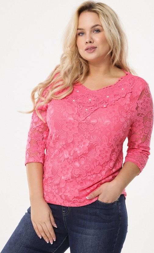 Różowa bluzka born2be z długim rękawem z dzianiny