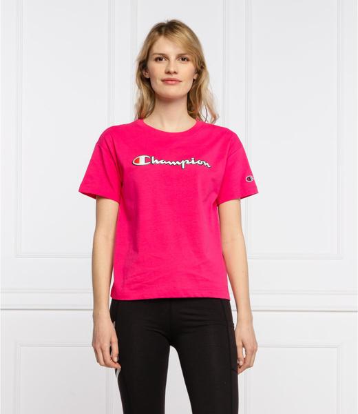 Różowa bluzka Champion z okrągłym dekoltem z krótkim rękawem