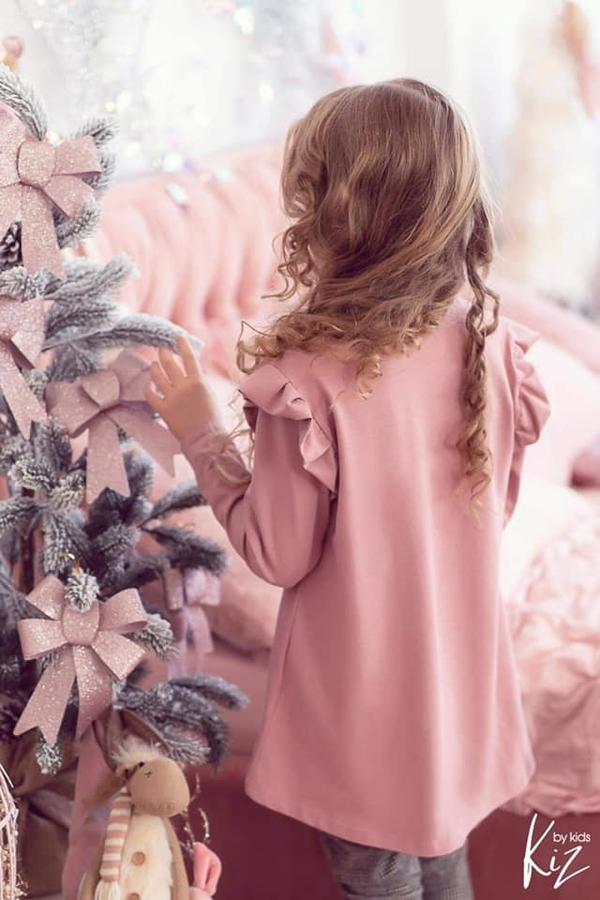 Różowa bluzka dziecięca e-lily.pl dla dziewczynek z dzianiny