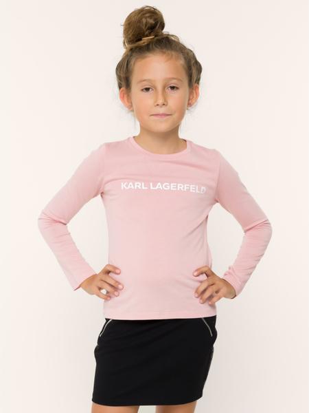 Różowa bluzka dziecięca Karl Lagerfeld z długim rękawem