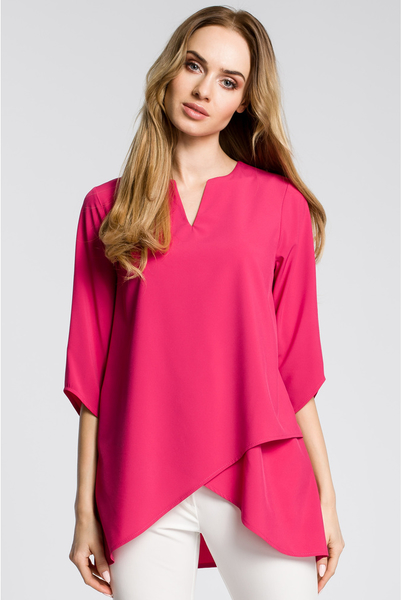 Różowa bluzka MOE z długim rękawem z okrągłym dekoltem