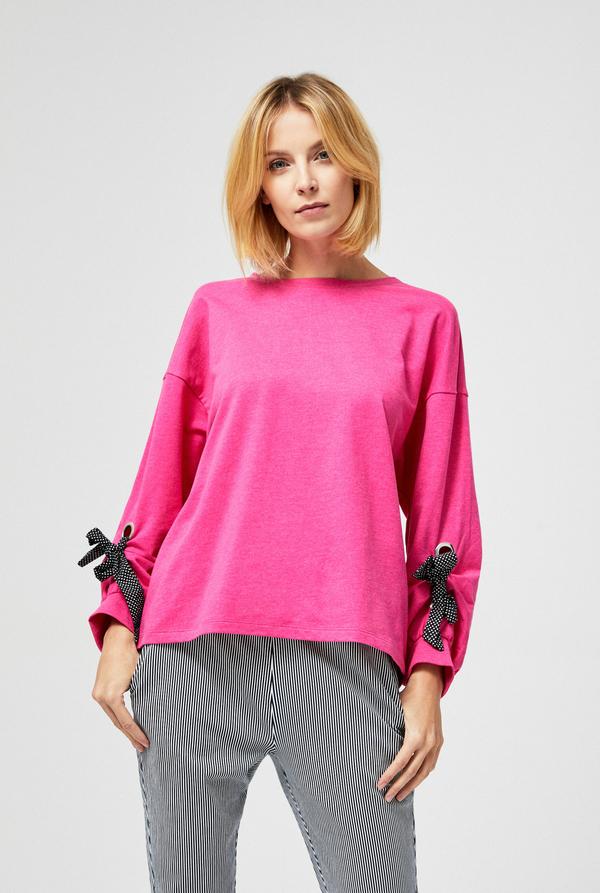 Różowa bluzka Moodo z długim rękawem