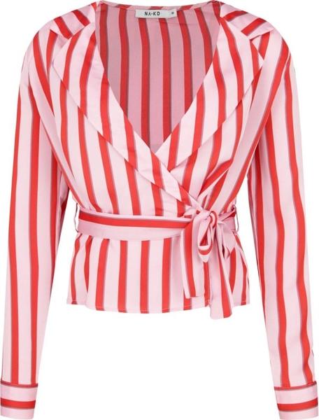 Różowa bluzka NA-KD z dekoltem w kształcie litery v