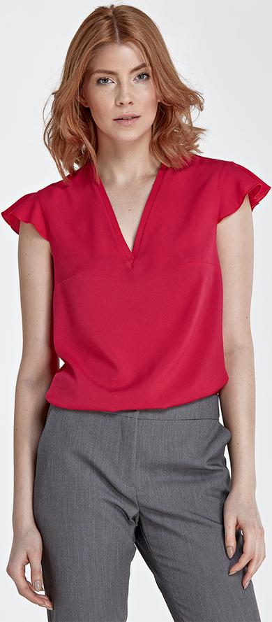 Różowa bluzka Nife z krótkim rękawem z dekoltem w kształcie litery v