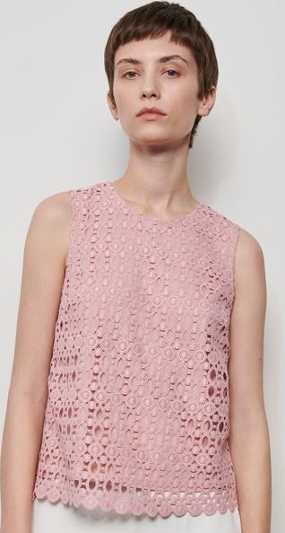 Różowa bluzka Reserved z okrągłym dekoltem w stylu boho