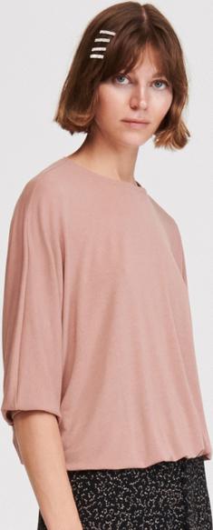 Różowa bluzka Reserved z okrągłym dekoltem w stylu casual z krótkim rękawem
