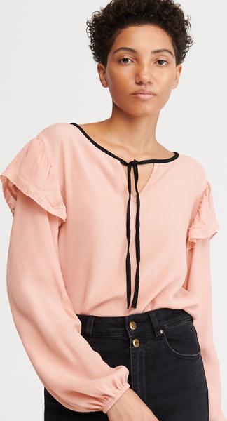 Różowa bluzka Reserved ze sznurowanym dekoltem