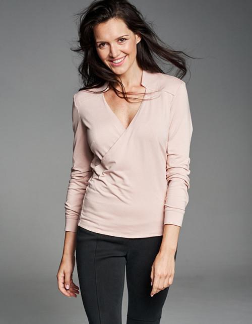 Różowa bluzka RISK made in warsaw z długim rękawem z dzianiny z dekoltem w kształcie litery v