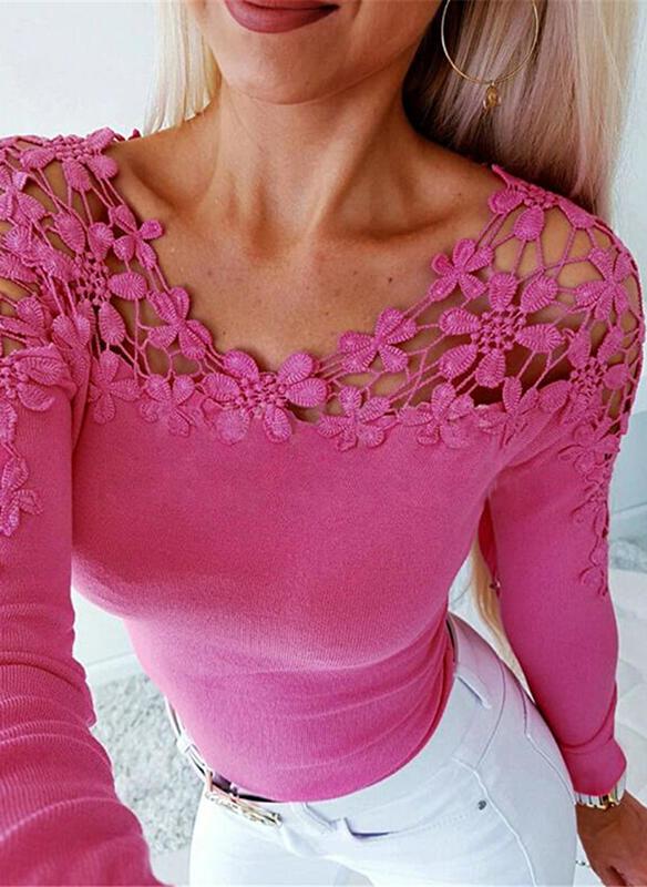Różowa bluzka Sandbella z długim rękawem