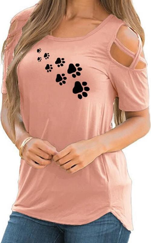 Różowa bluzka Sandbella z okrągłym dekoltem z bawełny