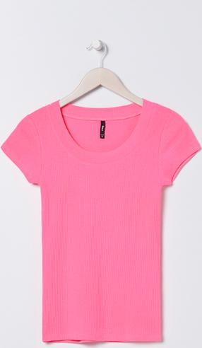 Różowa bluzka Sinsay z krótkim rękawem w stylu casual z okrągłym dekoltem