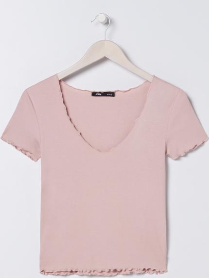Różowa bluzka Sinsay z krótkim rękawem z okrągłym dekoltem
