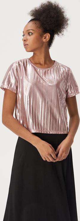 Różowa bluzka Sinsay z okrągłym dekoltem z krótkim rękawem