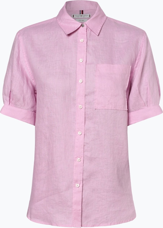 Różowa bluzka Tommy Hilfiger z lnu