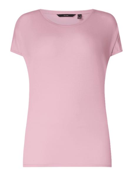 Różowa bluzka Vero Moda z okrągłym dekoltem z krótkim rękawem