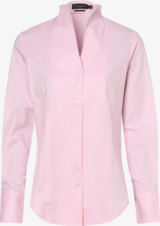 Różowa koszula Franco Callegari z dekoltem w kształcie litery v