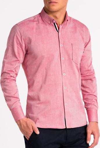 Różowa koszula Ombre z długim rękawem