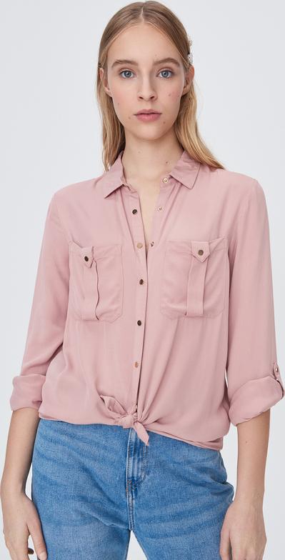 Różowa koszula Sinsay z długim rękawem w stylu casual