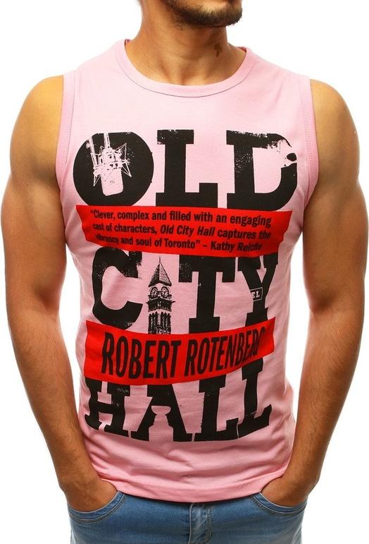 Różowa koszulka Dstreet z nadrukiem w młodzieżowym stylu z tkaniny