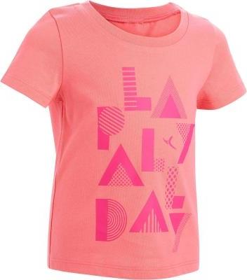Różowa koszulka dziecięca Domyos z krótkim rękawem