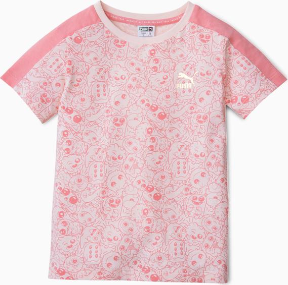 Różowa koszulka dziecięca Puma z bawełny z krótkim rękawem