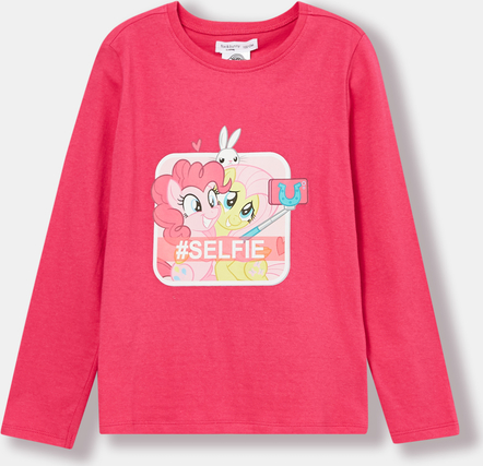 Różowa koszulka dziecięca Sinsay z długim rękawem z bawełny