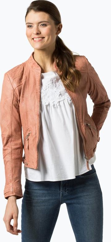 Różowa kurtka Gipsy ze skóry krótka w stylu casual