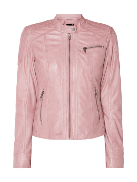 Różowa kurtka Jilani ze skóry