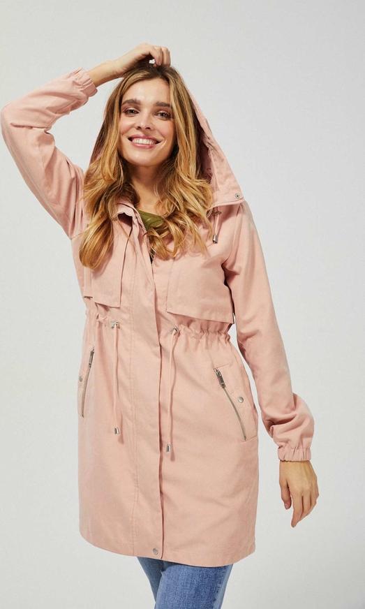 Różowa kurtka Moodo długa w stylu casual