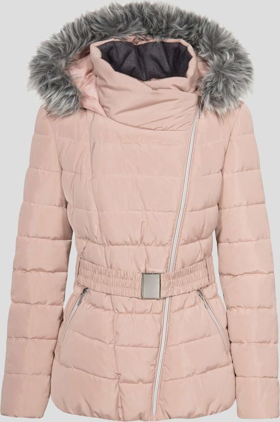 Różowa kurtka orsay z dzianiny bez wzorów