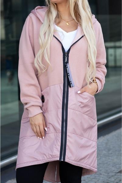 Różowa kurtka Sklep XL-ka z dresówki długa