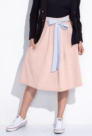 Różowa spódnica Bien Fashion z dresówki w sportowym stylu