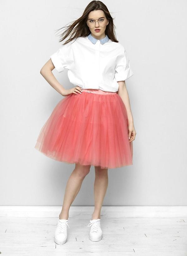 Różowa spódnica Freeshion z tiulu midi