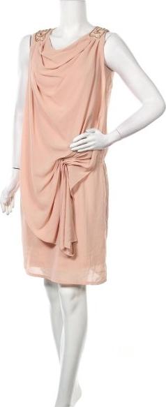 Różowa sukienka 3 Suisses z okrągłym dekoltem bez rękawów