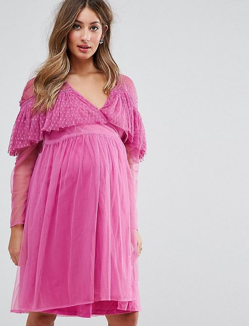 Różowa sukienka Asos z bawełny